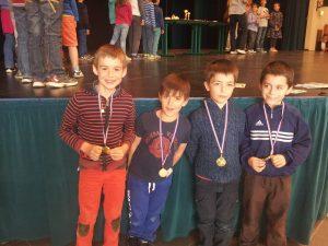 De gauche à droite Mathieu, Arthur, Paul et Jules
